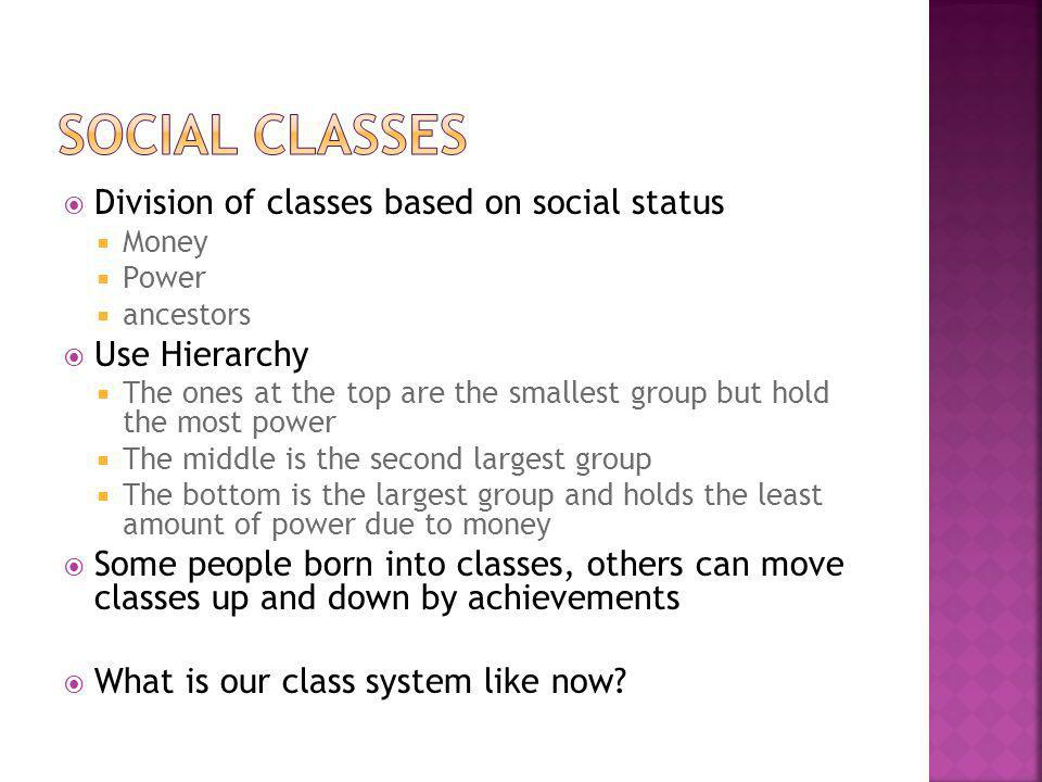 Social Classes Division of classes based on social status