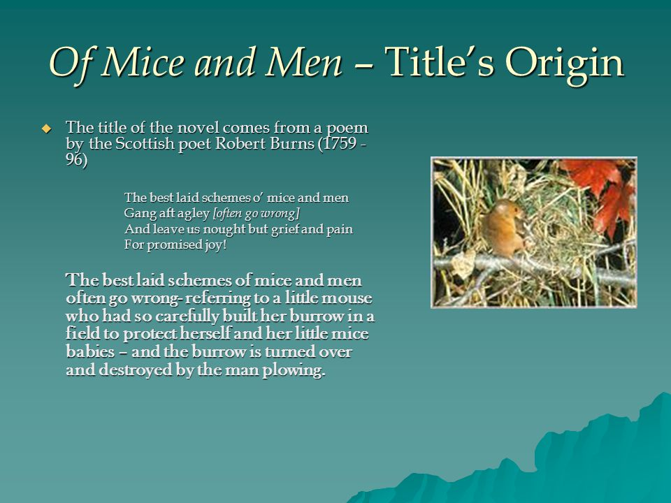 Of Mice and Men – Title's Origin