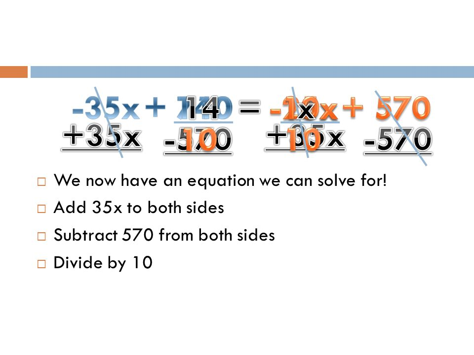 We now have an equation we can solve for!