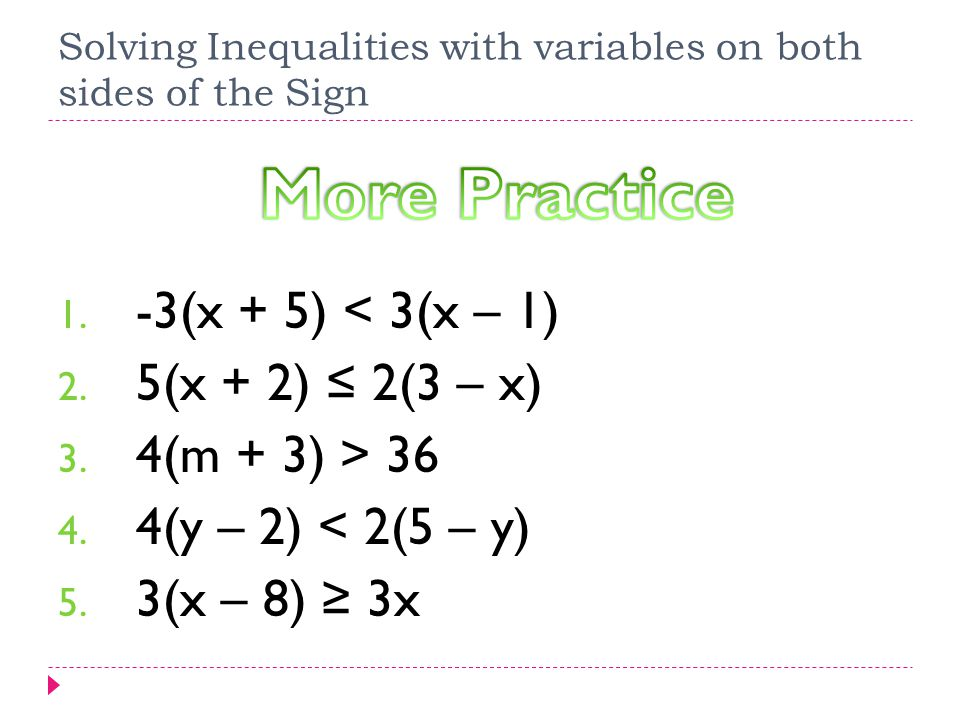 Solving Inequalities with variables on both sides of the Sign – Variables on Both Sides Worksheet