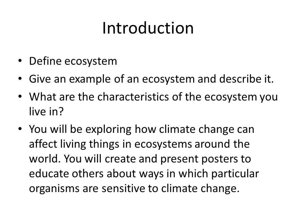 Introduction Define ecosystem
