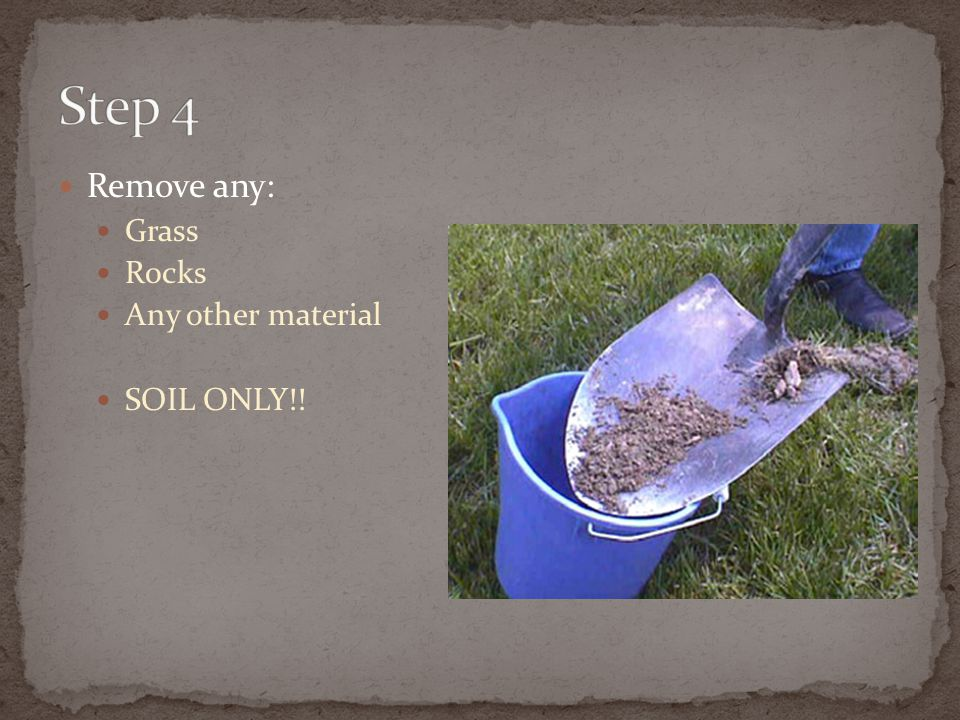 Step 4 Remove any: Grass Rocks Any other material SOIL ONLY!!