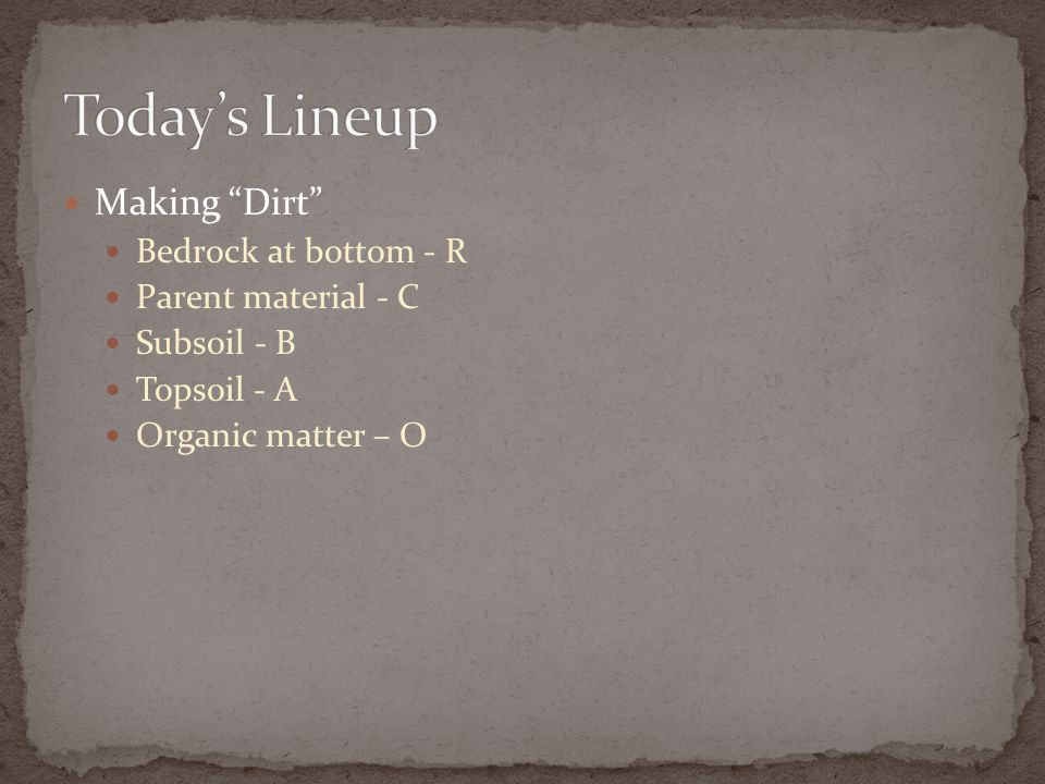 Today's Lineup Making Dirt Bedrock at bottom - R Parent material - C