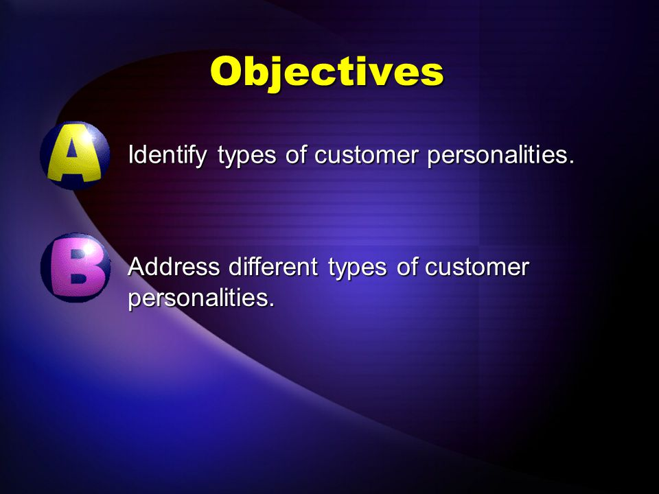 Objectives Identify types of customer personalities.