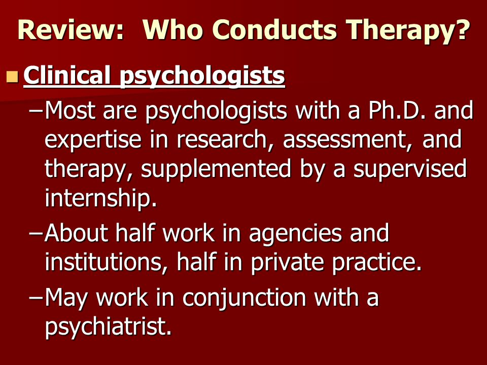 Review: Who Conducts Therapy
