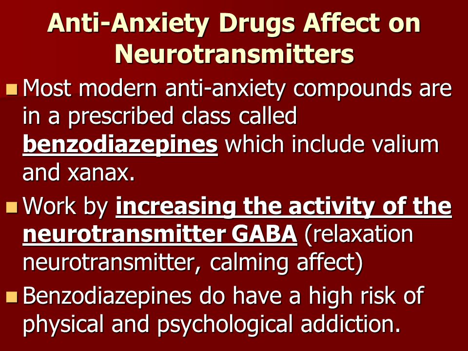 Anti-Anxiety Drugs Affect on Neurotransmitters