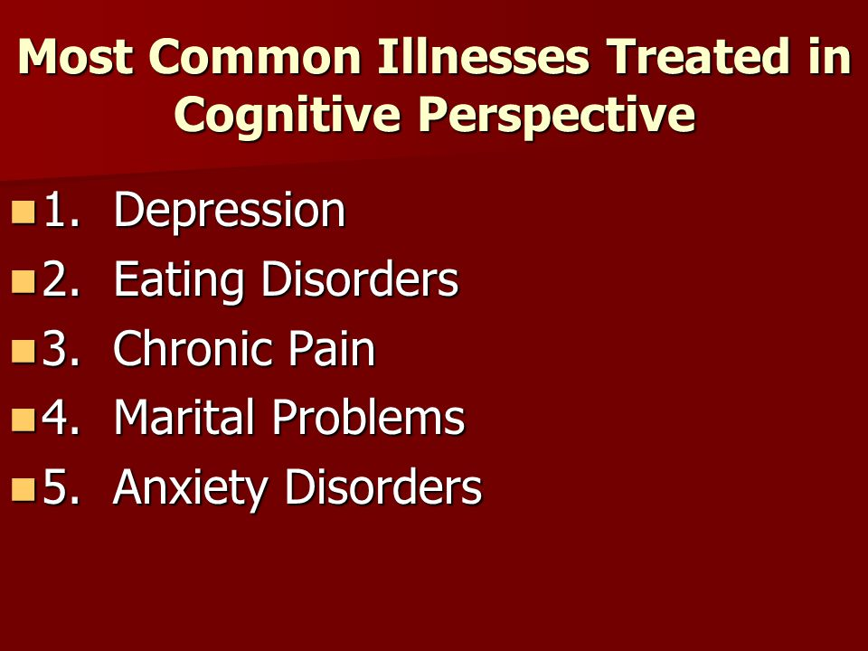 Most Common Illnesses Treated in Cognitive Perspective