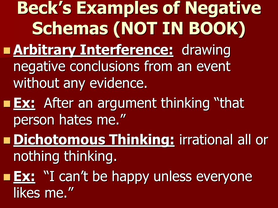 Beck's Examples of Negative Schemas (NOT IN BOOK)