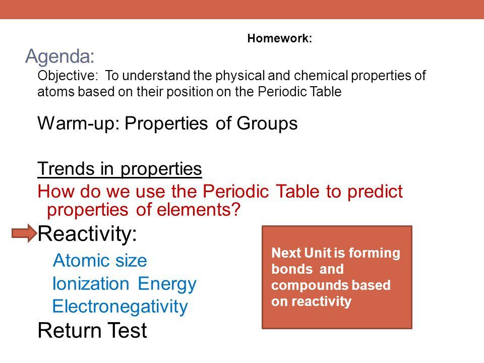 Reactivity: Atomic size Return Test Agenda: