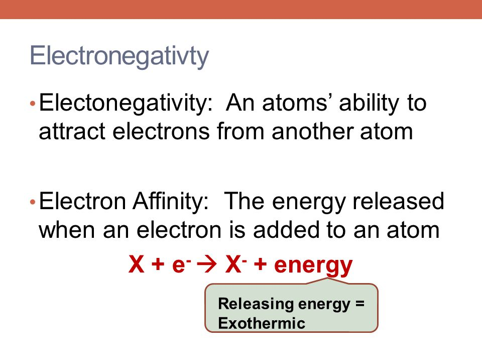 Electronegativty Electonegativity: An atoms' ability to attract electrons from another atom.
