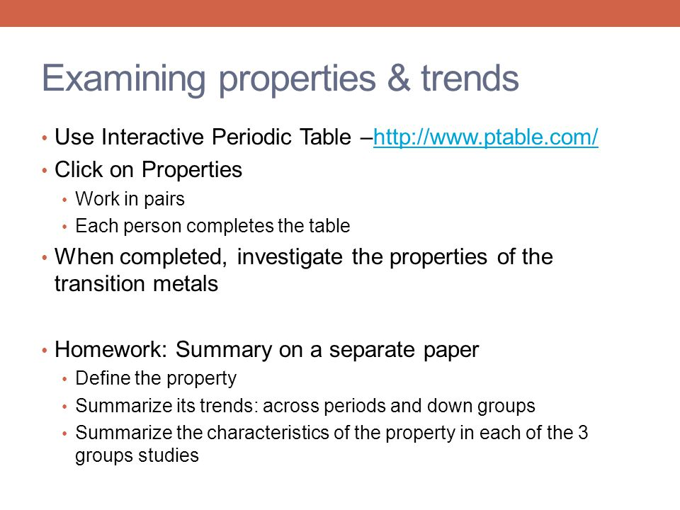 Examining properties & trends