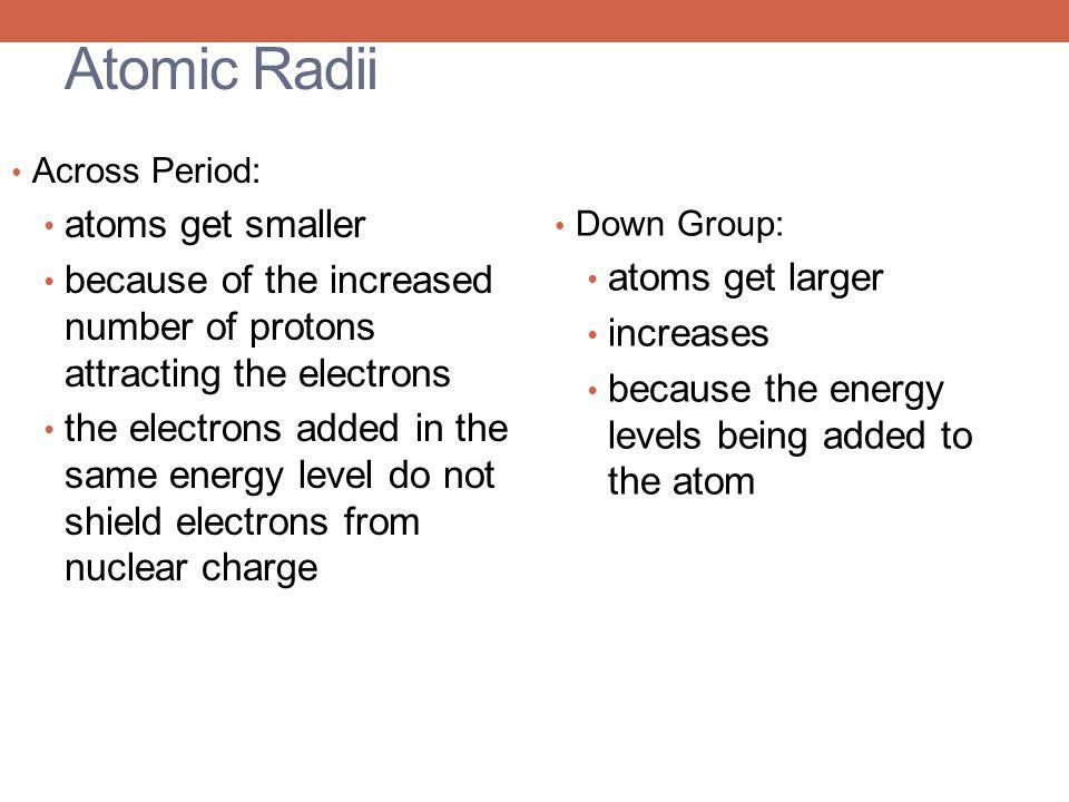 Atomic Radii atoms get smaller