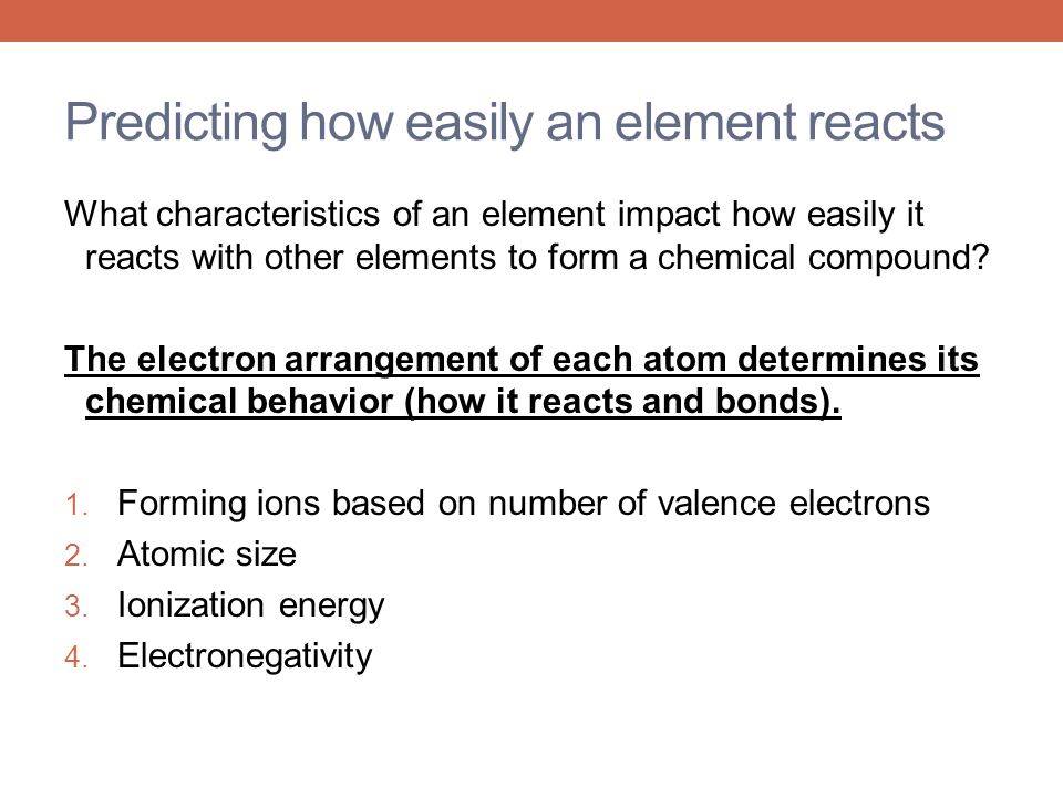 Predicting how easily an element reacts