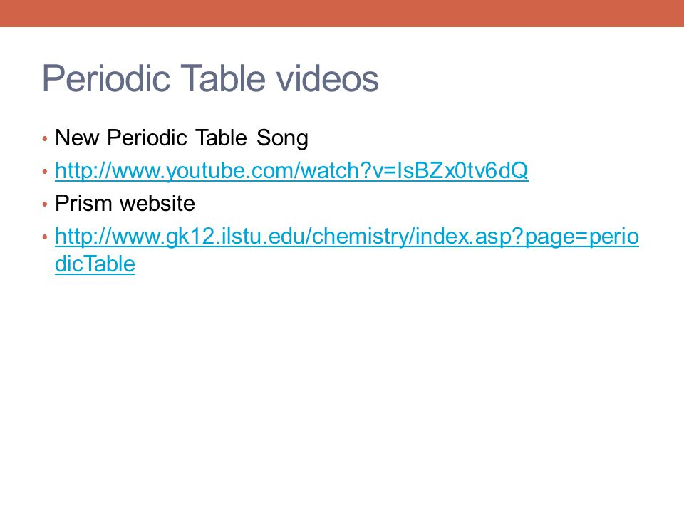 Periodic Table videos New Periodic Table Song