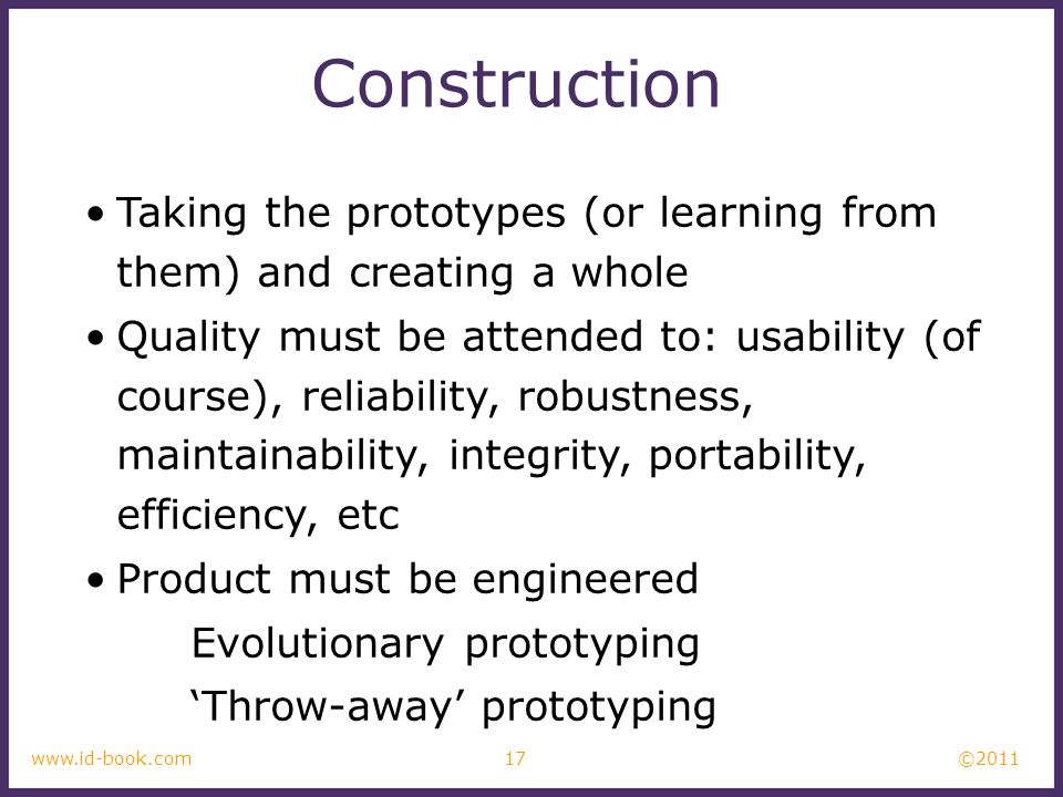 ConstructionTaking the prototypes (or learning from them) and creating a whole.