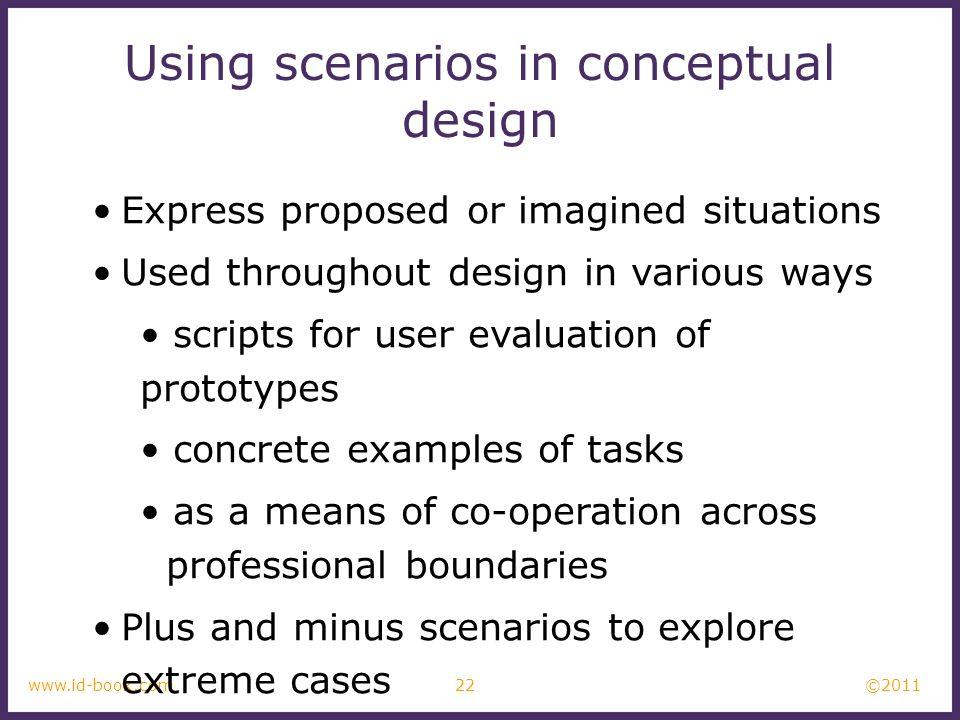 Using scenarios in conceptual design