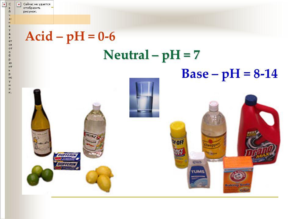 Acid – pH = 0-6 Neutral – pH = 7 Base – pH = 8-14