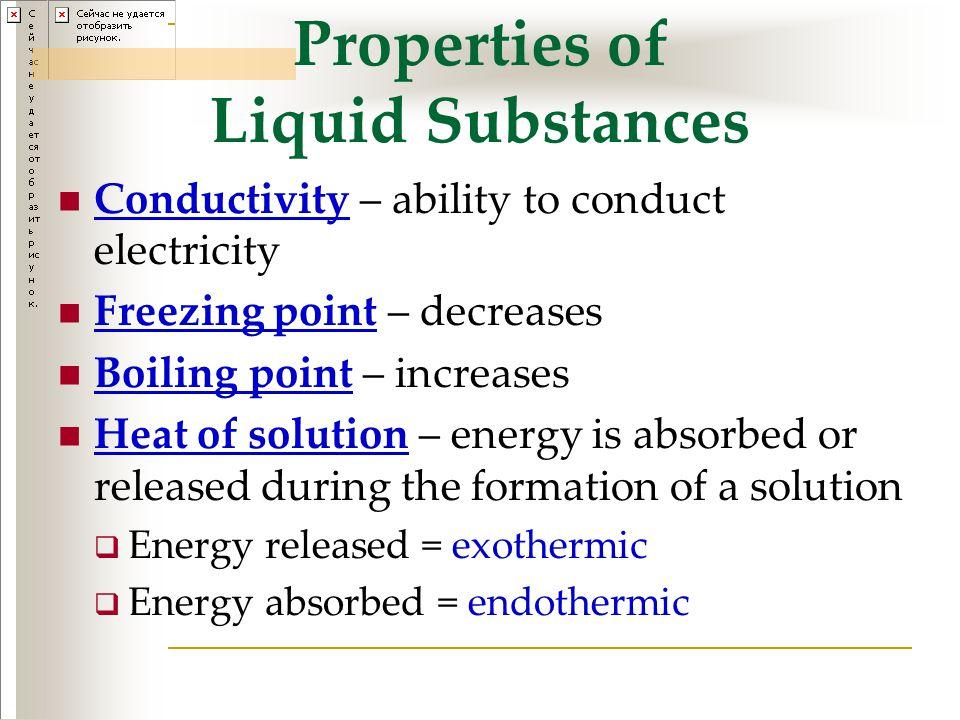 Properties of Liquid Substances