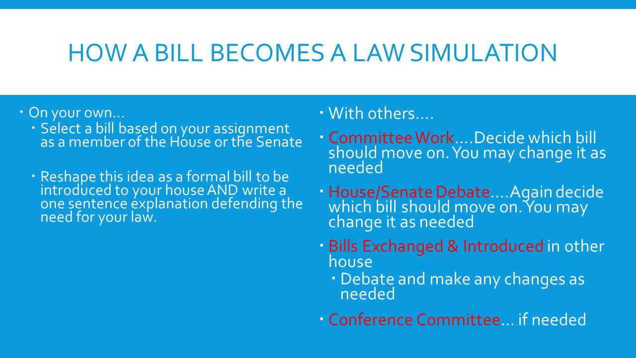 How a Bill Becomes a law Simulation