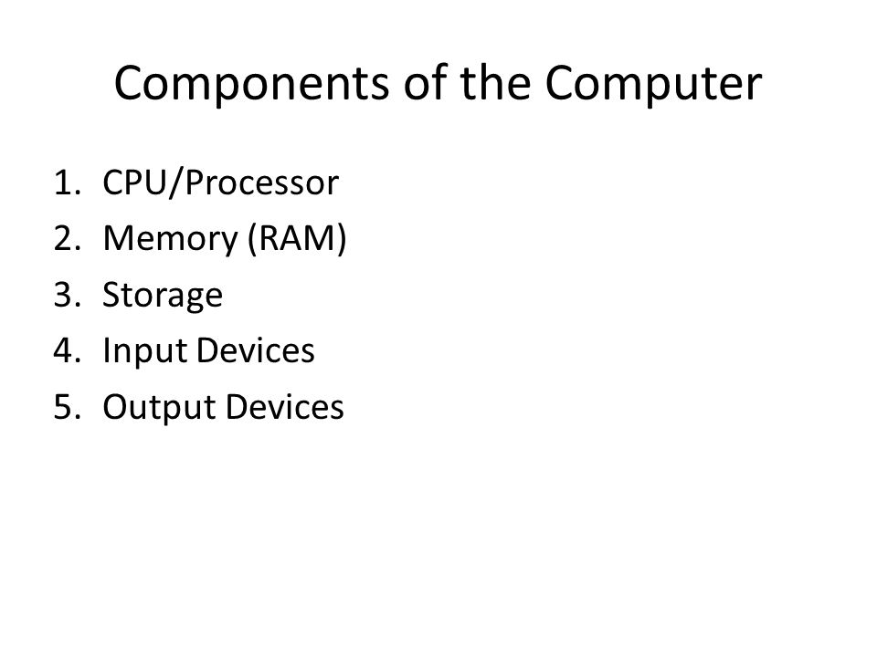 Components of the Computer