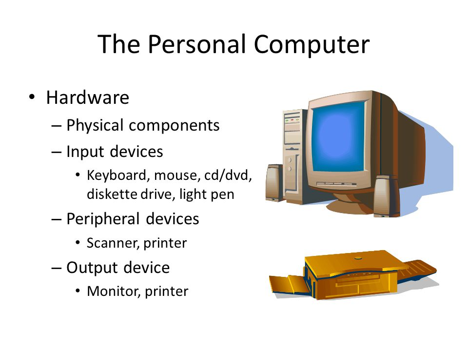 The Personal Computer Hardware Physical components Input devices