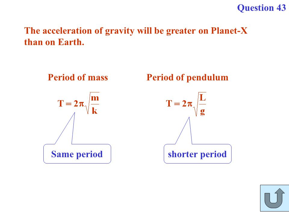 Question 43 The acceleration of gravity will be greater on Planet-X. than on Earth. Period of mass.