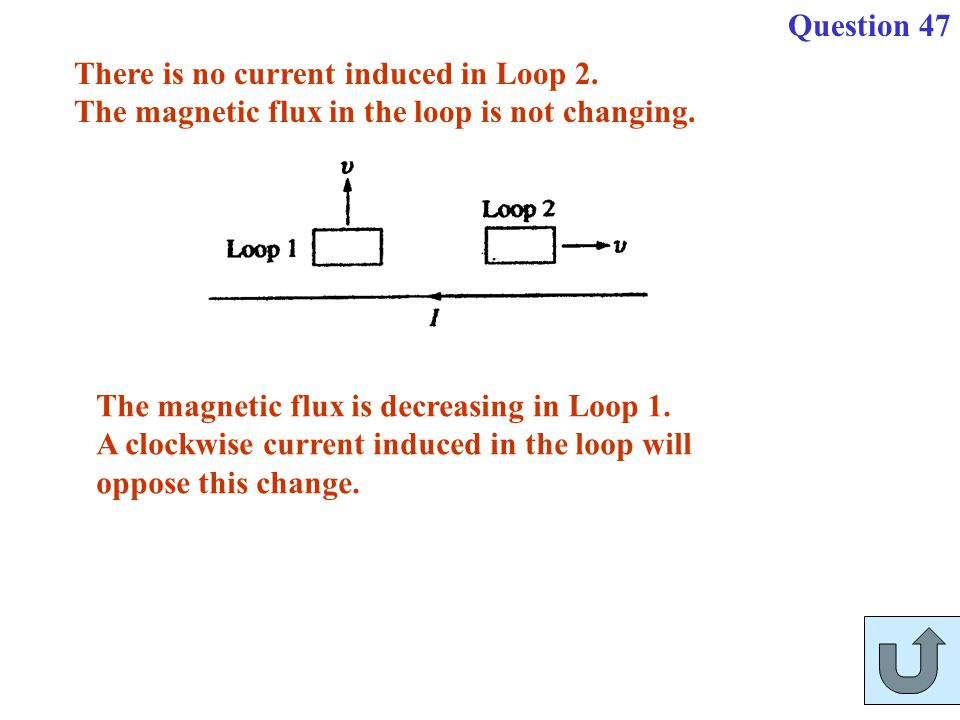 Question 47 There is no current induced in Loop 2. The magnetic flux in the loop is not changing. The magnetic flux is decreasing in Loop 1.