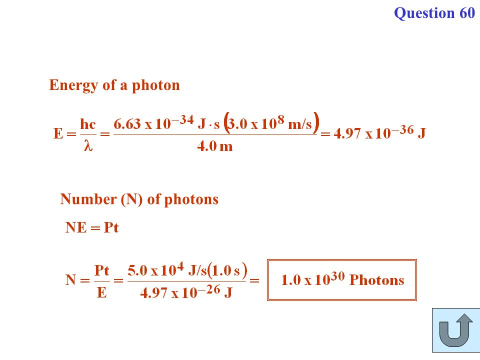 Question 60 Energy of a photon Number (N) of photons