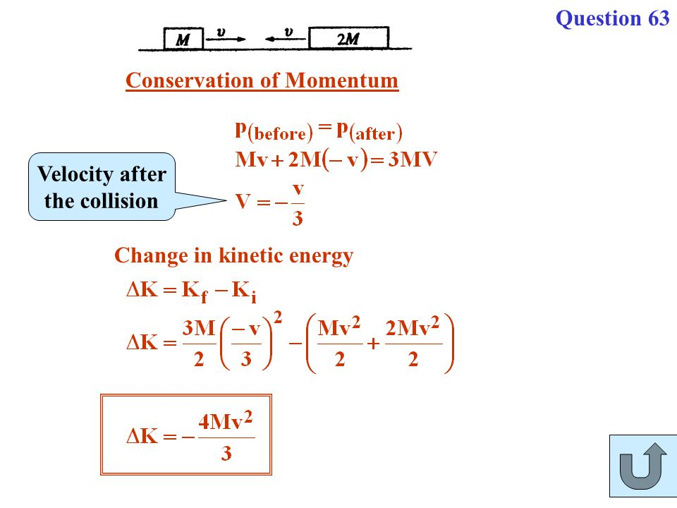 Question 63 Conservation of Momentum Velocity after the collision Change in kinetic energy
