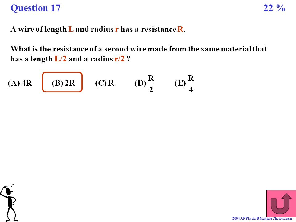 Question 17 22 % A wire of length L and radius r has a resistance R.