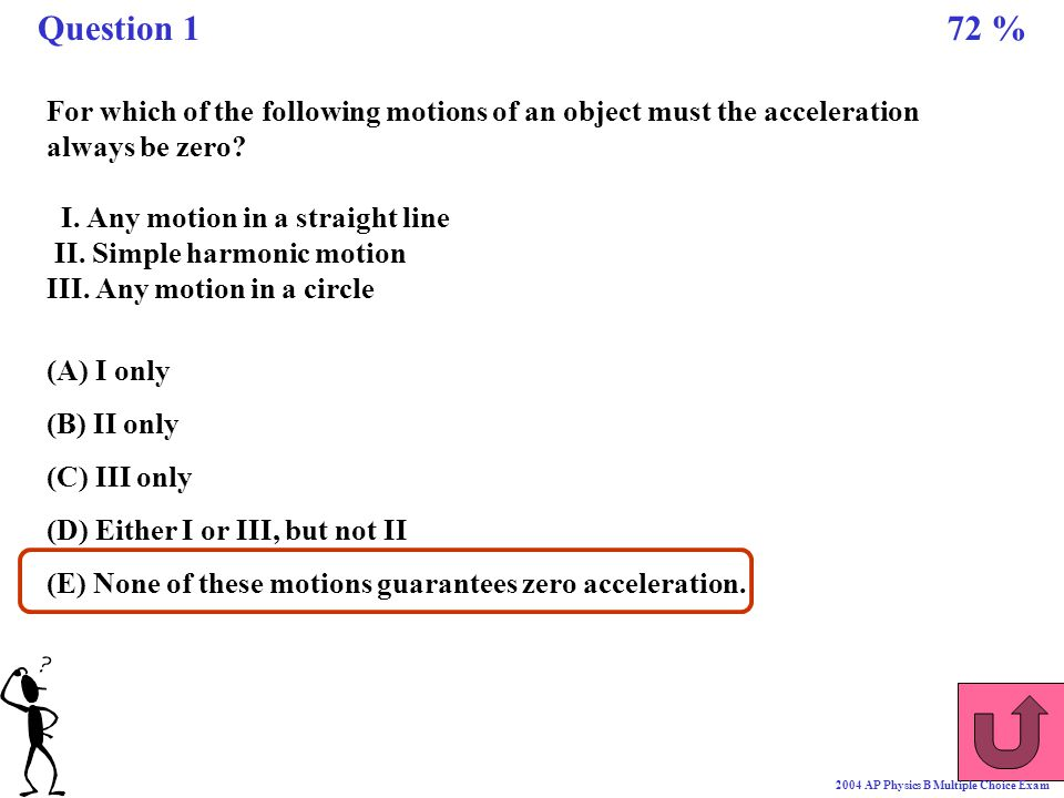 Question 1 72 % For which of the following motions of an object must the acceleration always be zero