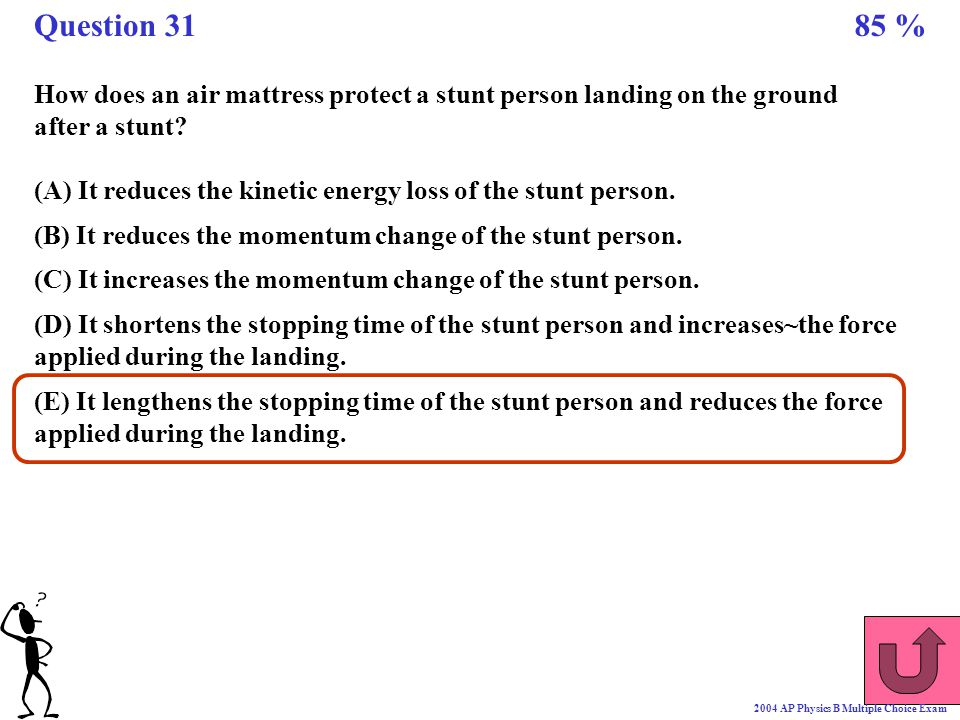 Question 31 85 % How does an air mattress protect a stunt person landing on the ground. after a stunt