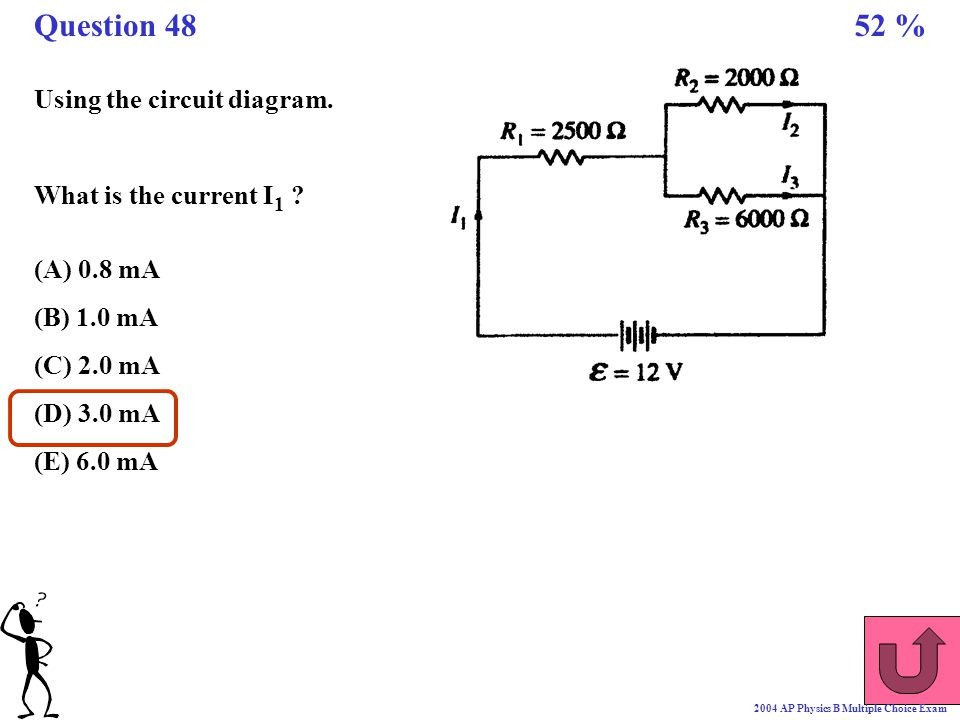 Question 48 52 % Using the circuit diagram. What is the current I1