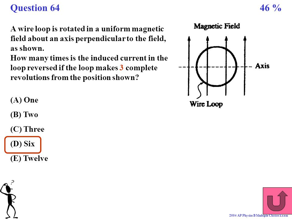 Question 64 46 % A wire loop is rotated in a uniform magnetic field about an axis perpendicular to the field, as shown.