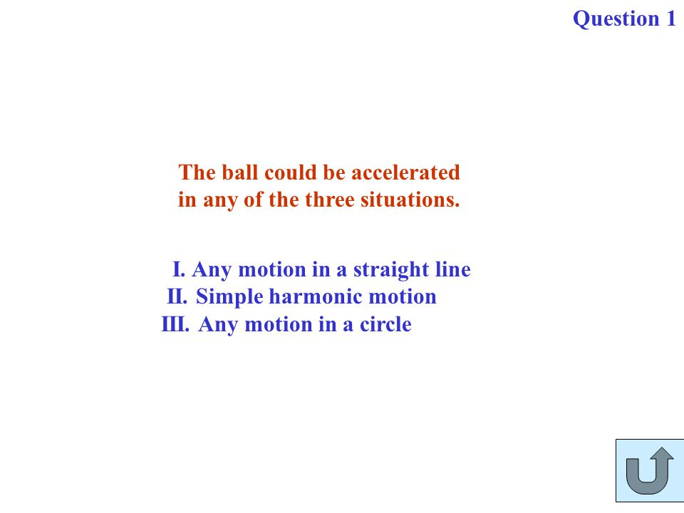 Question 1 The ball could be accelerated. in any of the three situations. I. Any motion in a straight line.