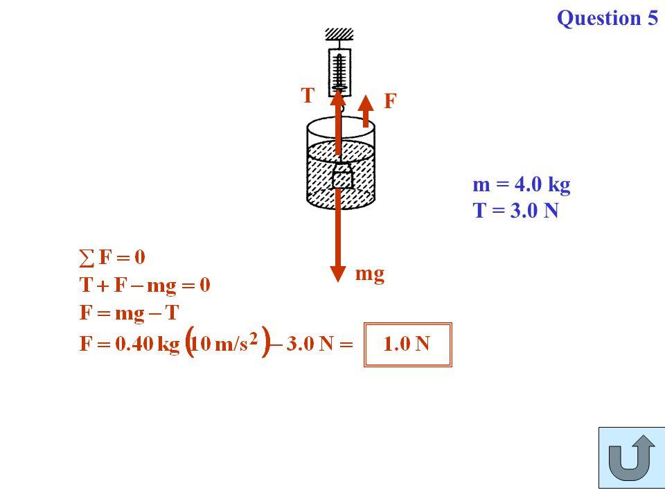 Question 5 mg F T m = 4.0 kg T = 3.0 N