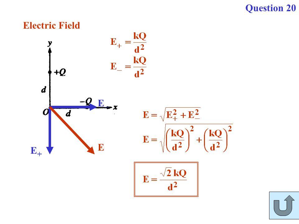 Question 20 E+ E- E Electric Field