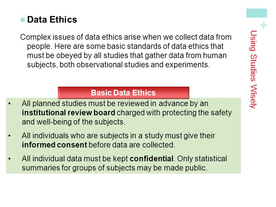Data Ethics Using Studies Wisely