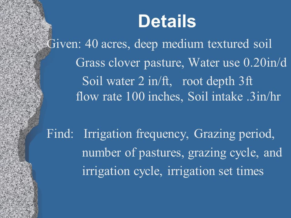 Details Given: 40 acres, deep medium textured soil