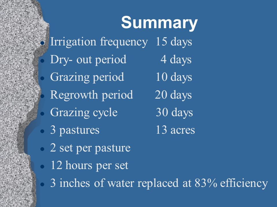 Summary Irrigation frequency 15 days Dry- out period 4 days