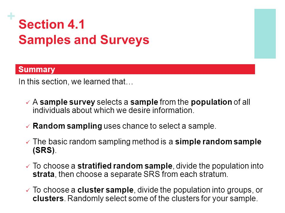 Section 4.1 Samples and Surveys
