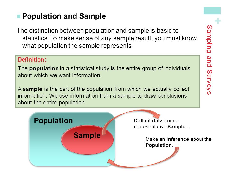 Population and Sample Population Sample Sampling and Surveys