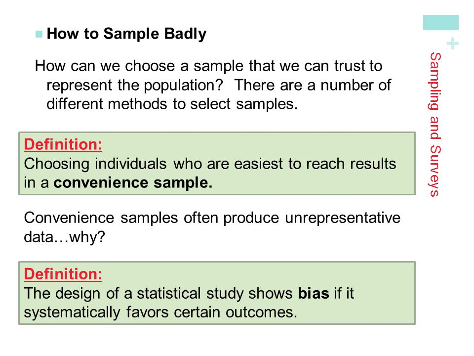 Convenience samples often produce unrepresentative data…why