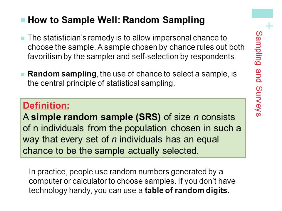 How to Sample Well: Random Sampling