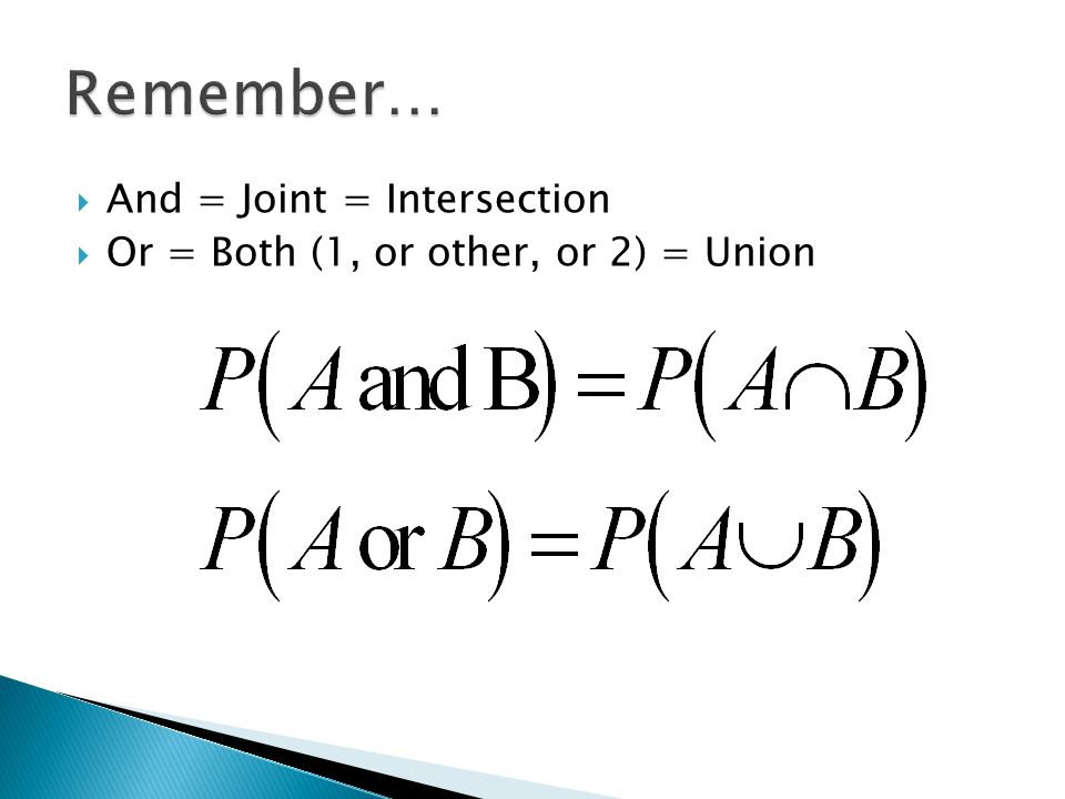 Remember… And = Joint = Intersection