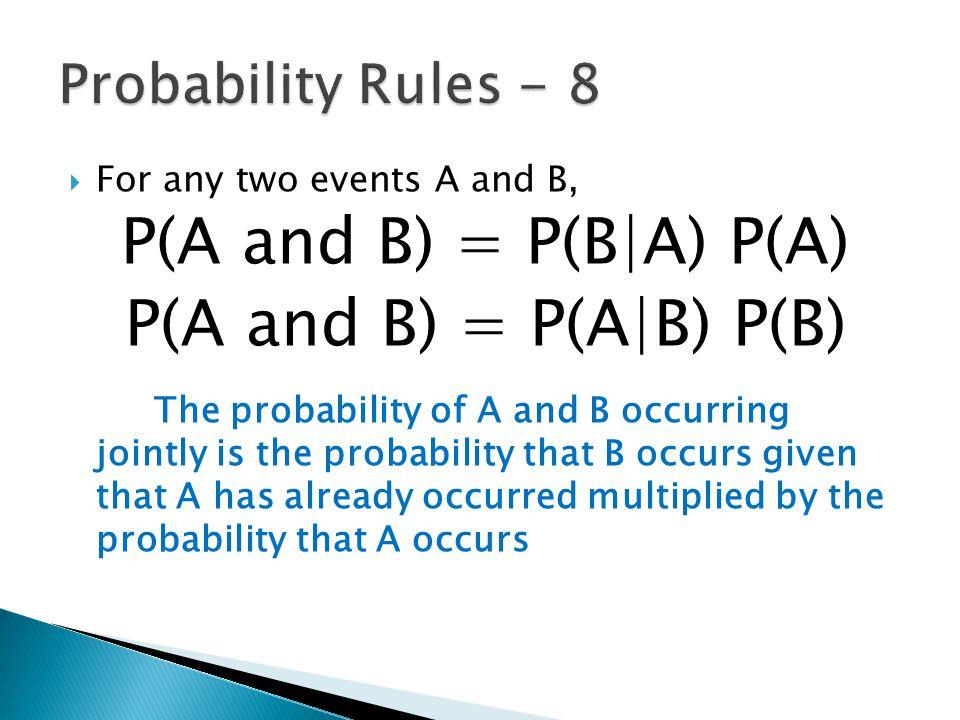 P(A and B) = P(B|A) P(A) P(A and B) = P(A|B) P(B)