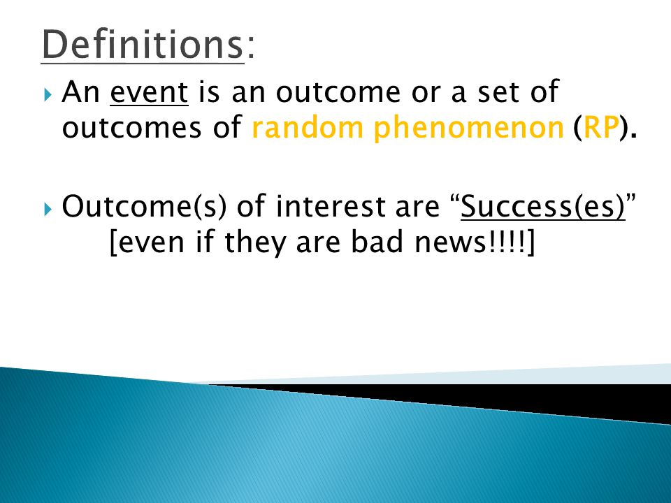 Definitions: An event is an outcome or a set of outcomes of random phenomenon (RP).