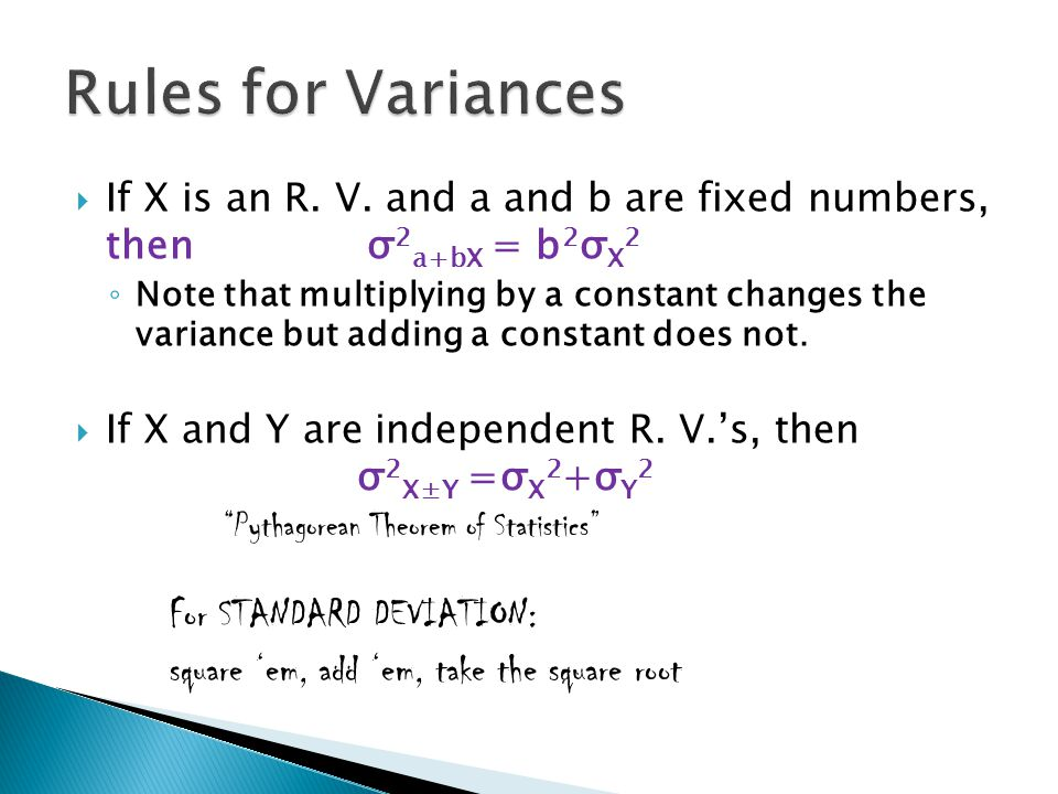 Rules for Variances square 'em, add 'em, take the square root