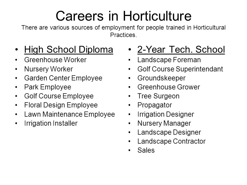 Careers in Horticulture There are various sources of employment for people trained in Horticultural Practices.