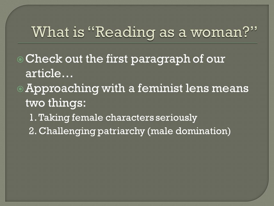 What is Reading as a woman